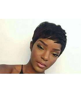 کلاه گیس زنانه وای وین کوتاه صاف Yviann Black Short Human Hair Wigs for Women
