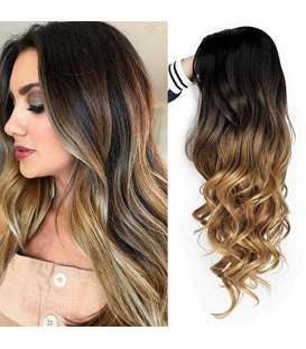 کلاه گیس زنانه کویینز موج دار مشکی و قهوه ای AISI QUEENS Wigs Long Black to Brown Wavy Wigs for Women