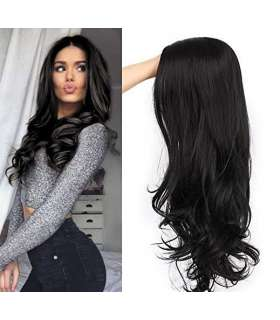 کلاه گیس زنانه کویینز مدل موجی بلند مشکی QUEENS AISI Black Wavy Synthetic Wigs for Women