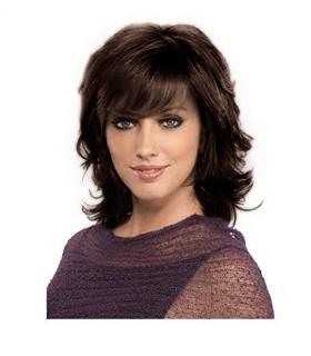 کلاه گیس زنانه سیلور سایز متوسط حالت دار قهوه ای تیره Silver Synthetic Wigs Curly Wavy Dark Brown
